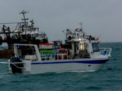 French fishing boats staging a protest outside the harbour at St Helier in May (Gary Grimshaw/Bailiwick Express/PA)