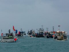 French fishing boats staged a protest off St Helier in May (Gary Grimshaw/Bailiwick Express/PA)