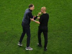 Pep Guardiola, right, is starting from scratch in his Premier League battle with Chelsea boss Thomas Tuchel (Adam Davy/PA)