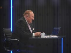 Presenter Andrew Neil prepares to broadcast from a studio during the launch event for new TV channel GB News (Yui Mok/PA