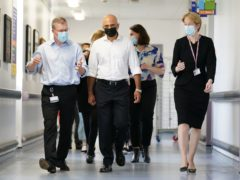 Health Secretary Sajid Javid alongside Amanda Pritchard, chief executive of NHS England, during a visit to Milton Keynes University hospital (Jacob King/PA)