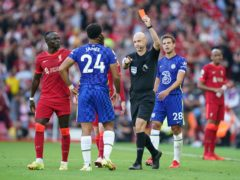 Referee Anthony Taylor sent off Chelsea defender Reece James after a handball on the goalline (Mike Egerton/PA)