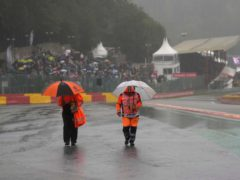 The rain-hit Spa-Francorchamps event lasted only two laps behind the safety car (Francisco Seco/AP)