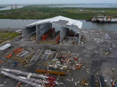 Damage to ship docking facilities are seen in the aftermath of Hurricane Ida in Port Fourchon, Louisiana (Gerald Herbert/AP)