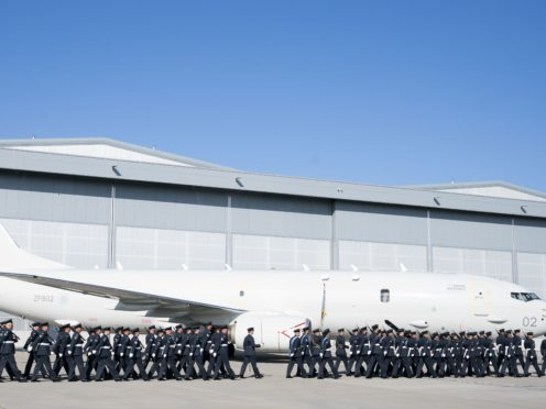 RAF personnel from CXX Squadron take part in the formal naming of the facility (Jane Barlow/PA)