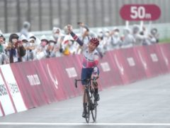 Great Britain's Dame Sarah Storey celebrates winning the gold medal in the women's C4-5 road race at the Fuji International Speedway during day nine of the Tokyo 2020 Paralympic Games in Japan (Tim Goode/PA)