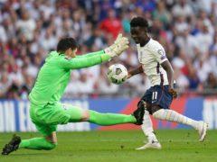 Bukayo Saka sees an attempt saved by Andorra goalkeeper Josep Gomes (Nick Potts/PA).