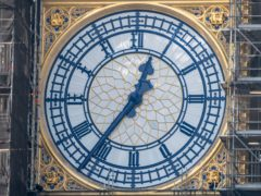The restored clock hands have been painted to match the original Prussian Blue colour scheme (Stefan Rousseau/PA)