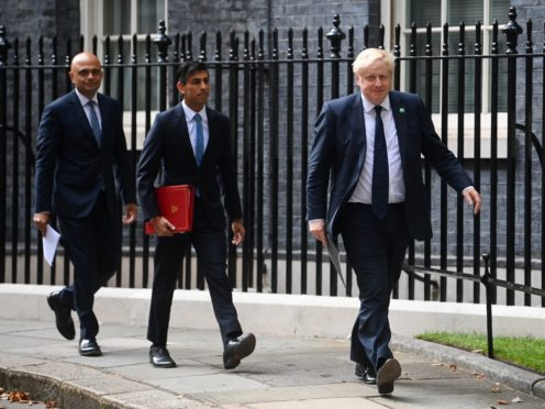 Health Secretary Sajid Javid, Chancellor of the Exchequer Rishi Sunak and Prime Minister Boris Johnson arriving at No 9 Downing Street for a media briefing on the long-awaited plan to fix the broken social care system. (Toby Melville/PA)