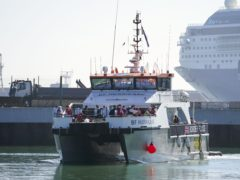 A group of people thought to be migrants are brought in to Dover, Kent, aboard a Border Force vessel following a small boat incident in the Channel. (Steve Parsons/PA) Picture date: Wednesday September 8, 2021.