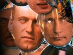 Face masks depicting Russian President Vladimir Putin, right, and jailed Russian opposition leader Alexei Navalny (Dmitri Lovetsky/AP)