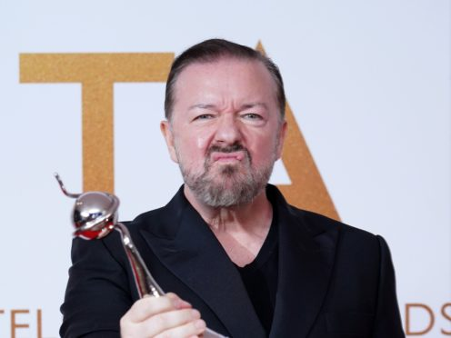 Ricky Gervais in the press room after winning the comedy award for After Life at the National Television Awards 2021 (Ian West/PA)
