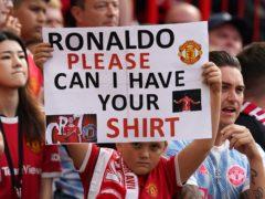 Cristiano Ronaldo fans at Old Trafford.