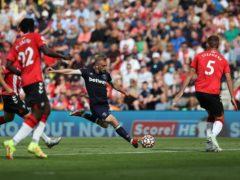 Jarrod Bowen, centre, goes for goal against Southampton (Kieran Cleeves/PA)