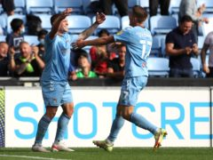 Martyn Waghorn, left, celebrates with fellow goalscorer Viktor Gyokeres after scoring Coventry's late second (Bradley Collyer/PA)