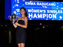 Emma Raducanu with the US Open trophy (Elise Amendola/AP)