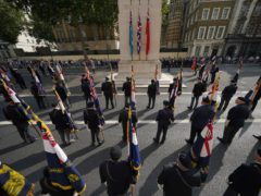 Royal Navy personnel and navy veterans during the parade (Yui Mok/PA)