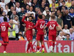 Mohamed Salah (second left) brought up his 100th Premier League goal (Mike Egerton/PA)