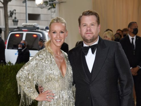James Corden, pictured with wife Julia Carey, has paid tribute to Norm Macdonald, describing the comedian as among the greatest ever late-night TV guests (Evan Agostini/Invision/AP)