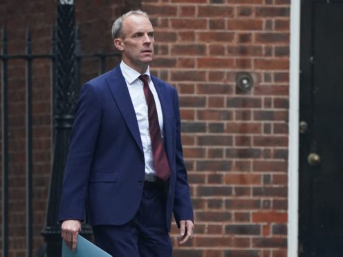 Foreign Secretary Dominic Raab arrives at 10 Downing Street (PA)