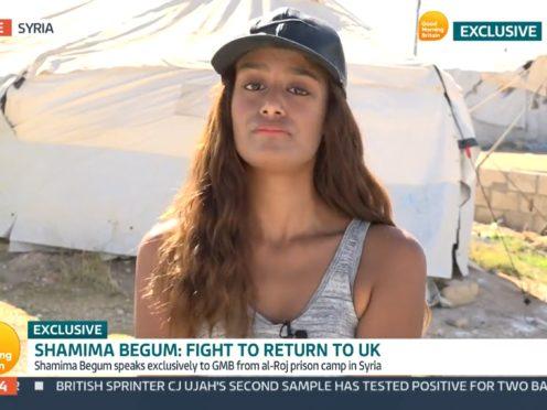 Video grab taken from ITV of Shamima Begum speaking to Good Morning Britain (GMB/ITV)