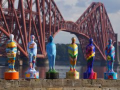 Some of the sculptures from the art installation Gratitude at The Forth Bridge at North Queensferry (Andrew Milligan/PA)