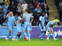 Coventry's Viktor Gyokeres, centre, celebrates scoring against Cardiff (Mike Egerton/PA)