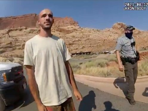 This police camera video provided by The Moab Police Department shows Brian Laundrie talking to a police officer (The Moab Police Department/AP)
