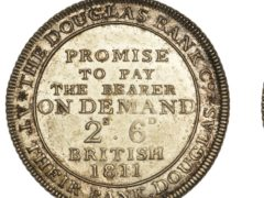 A rare halfcrown for the Douglas Bank Co, Isle of Man, dating from 1811, is part of the sale (Dix Noonan Webb/PA)