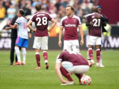 Mark Noble reflects on his last-gasp penalty miss against Manchester United (Mike Egerton/PA).