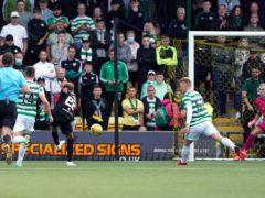Livingston's Andrew Shinnie nets the winner against Celtic (Andrew Milligan/PA))