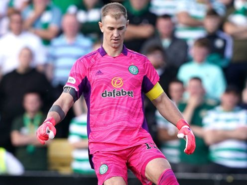 Celtic goalkeeper Joe Hart acknowledged the fans after defeat at Livingston (Andrew Milligan/PA)