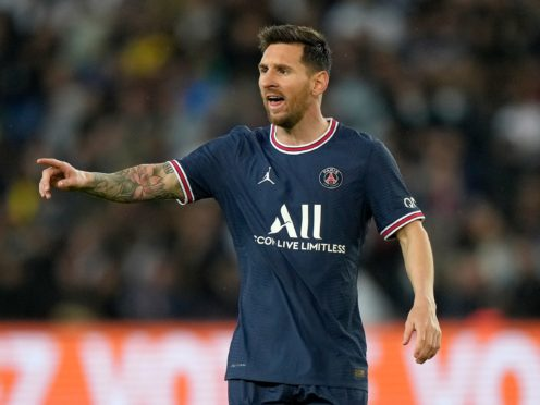 PSG's Lionel Messi could be a doubt for next week's Champions League clash with Manchester City (Francois Mori/AP/PA)
