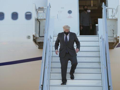 Prime Minister Boris Johnson lands in New York (Stefan Rousseau/PA)