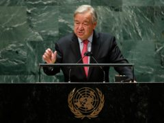 United Nations Secretary General Antonio Guterres addresses the 76th Session of the UN General Assembly in New York. ( Eduardo Munoz/Pool Photo via AP)