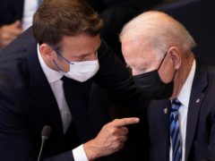 President Emmanuel Macron expects 'clarifications and clear commitments' from US President Joe Biden in the dispute over submarines (Brendan Smialowski, Pool via AP, File)