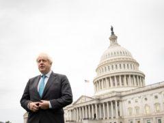 Prime Minister Boris Johnson arrives at the Capitol Building in Washington DC (Stefan Rousseau/PA)