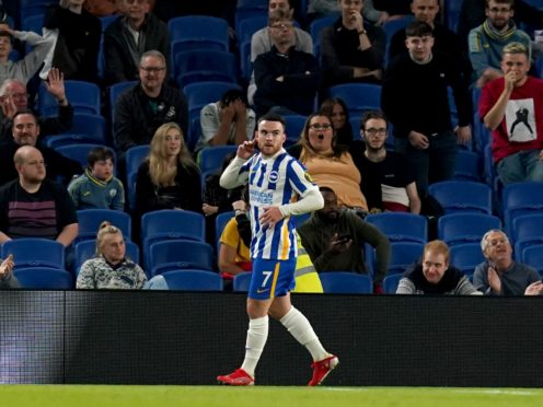 Aaron Connolly struck twice to ensure Brighton's place in the Carabao Cup fourth round after a 2-0 win over Swansea (Gareth Fuller/PA)