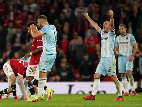 West Ham celebrated a memorable win at Old Trafford (Martin Rickett/PA)