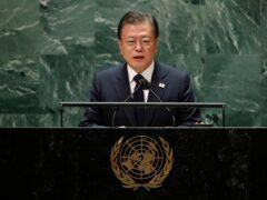 South Korea's President Moon Jae-in addresses the 76th Session of the UN General Assembly (Eduardo Munoz/Pool Photo via AP, File)