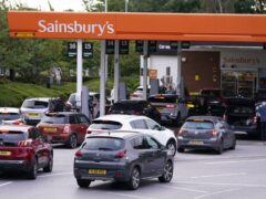 Queues built up at a Sainsbury's Petrol Station in Colton, Leeds (PA)