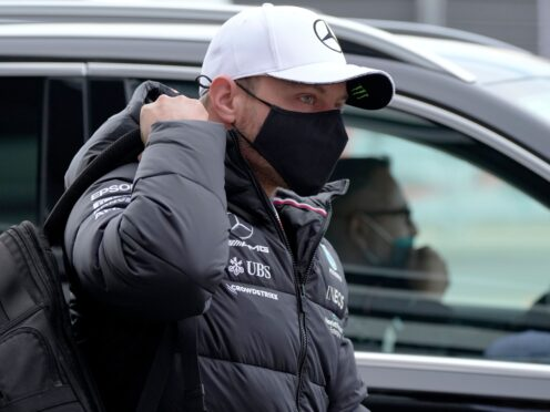 Mercedes driver Valtteri Bottas of Finland arrives for the first practice session at the Sochi Autodrom circuit, in Sochi, Russia, Friday, Sept. 24, 2021. The Russian Formula One Grand Prix will be held on Sunday (AP Photo/Sergei Grits)