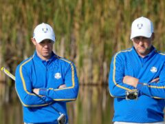 Rory McIlroy and Ian Poulter sat out the foursomes session on day two of the 43rd Ryder Cup at Whistling Straits (Charlie Neibergall/AP)