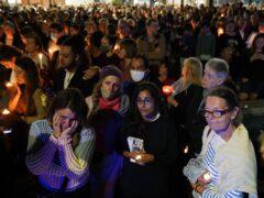 Members of the public attend a vigil in memory of Sabina Nessa (Jonathan Brady/PA)