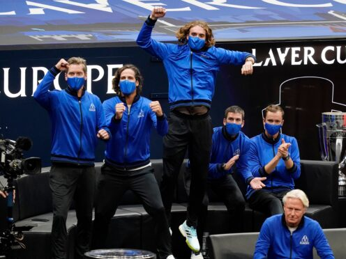 Stefanos Tsitsipas leads the cheers as Casper Ruud gives Team Europe an early lead at the Laver Cup (Elise Amendola/AP)