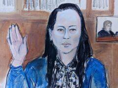 Wanzhou Meng is sworn in before Judge Ann Donnelly (Elizabeth Williams/AP)