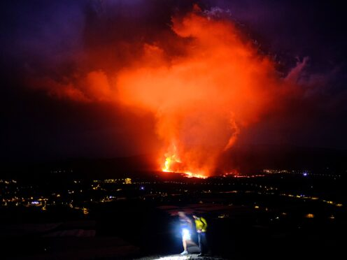 Lava spews from a volcano on the Canary island of La Palma, Spain (AP)