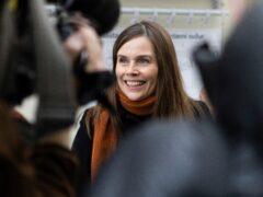 Iceland's prime minister Katrin Jakobsdottir speaking to the media on Saturday (Arni Torfason/AP)