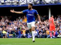Everton's Andros Townsend celebrates scoring a penalty in the win over Norwich (Peter Byrne/PA)