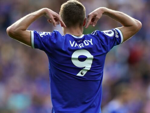 Leicester's Jamie Vardy celebrates scoring his second goal against Burnley (Mike Egerton/PA)